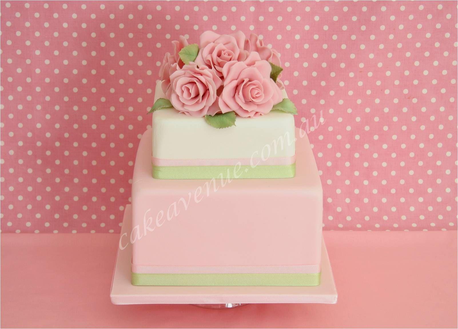 Pretty Pink and Green Wedding Cake ᘡղbᘠ | Wedding Cakes | Pinterest