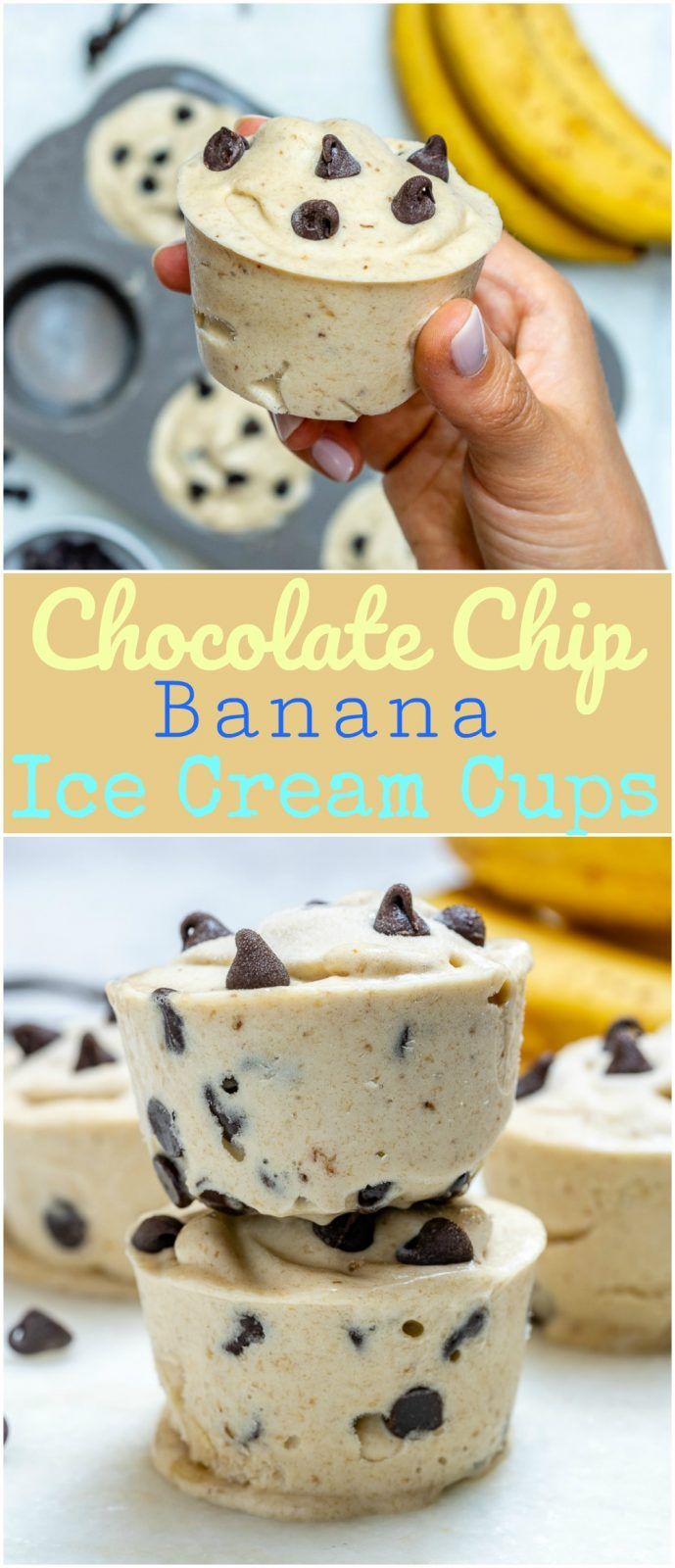 "Healthy Chocolate Chip Banana ""Ice Cream"" Cups for Summertime Fun! #healthyicecream"