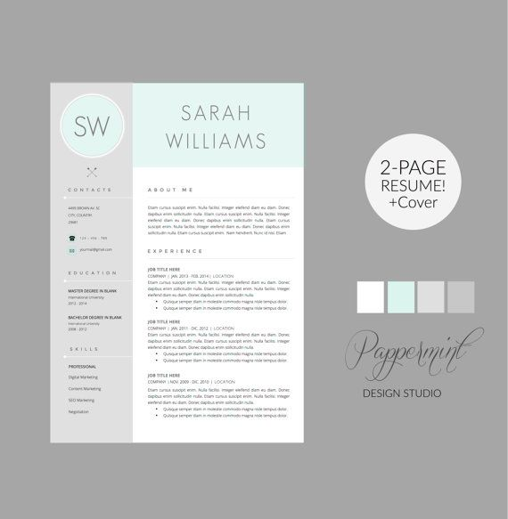 resume template with cover letter template for word