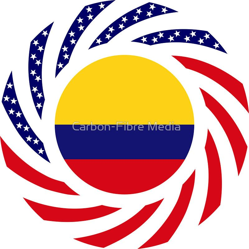 Colombian american multinational patriot flag series sticker by carbon fibre media