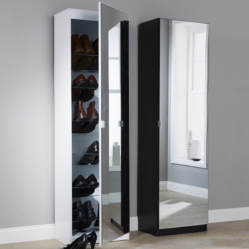 Tall White Shoe Cupboard With Mirror Door Cuartos Pinterest