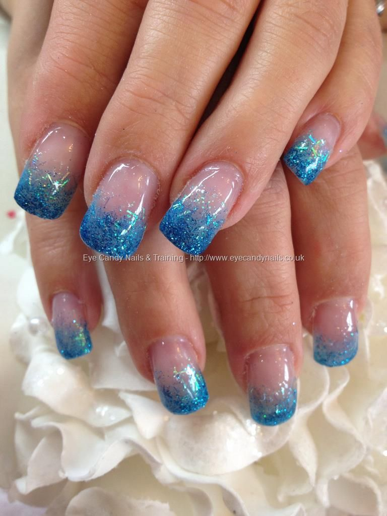 Blue glitter fade over acrylic nails nail designs pinterest