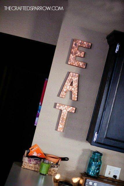 Letras com moedas Crafts Pinterest Decorar paredes, Letras - paredes con letras