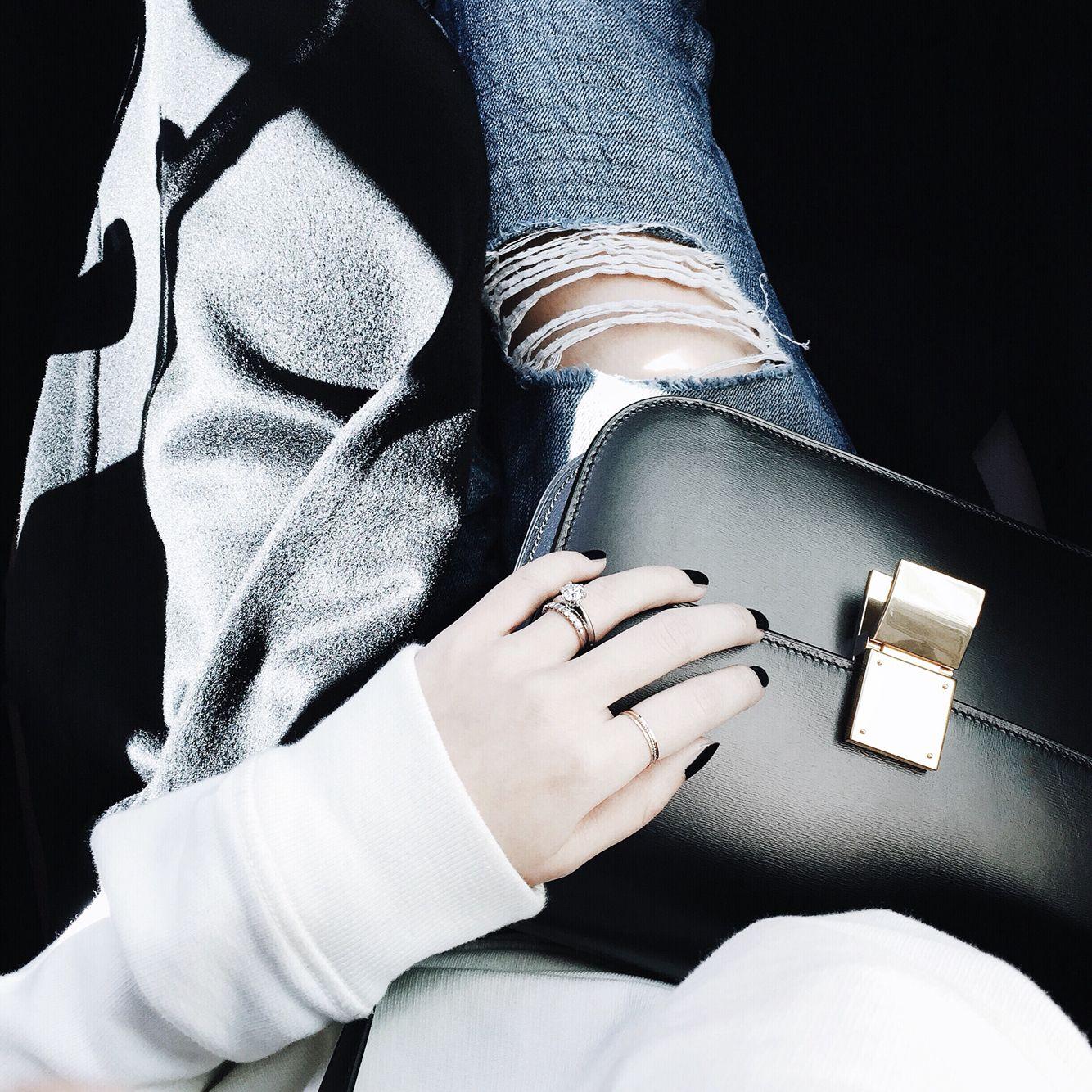 Sunlight | #aotd Céline Box Bag, distressed denim | via Egg Canvas