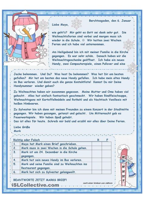 Weihnachtsferien   Realschule, Lesen und Arbeitsblätter