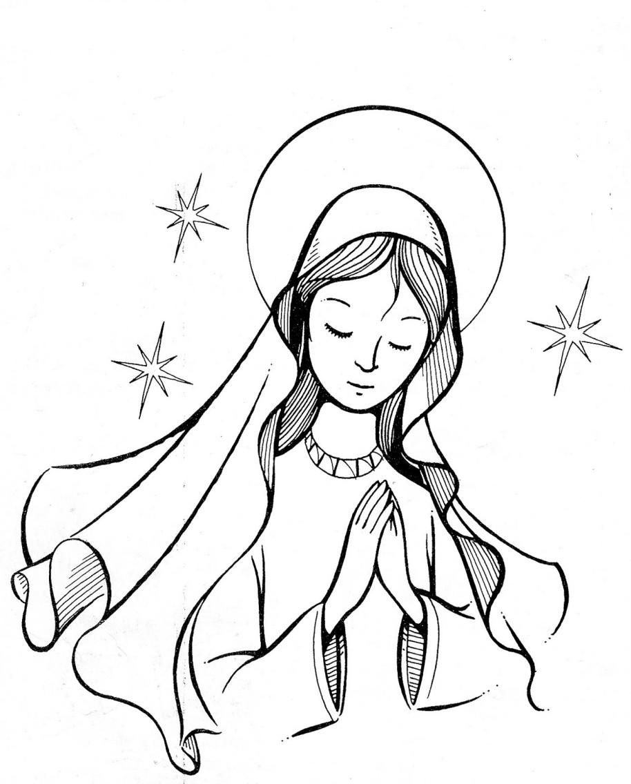 Our Lady Catholic Coloring Page Catholic coloring
