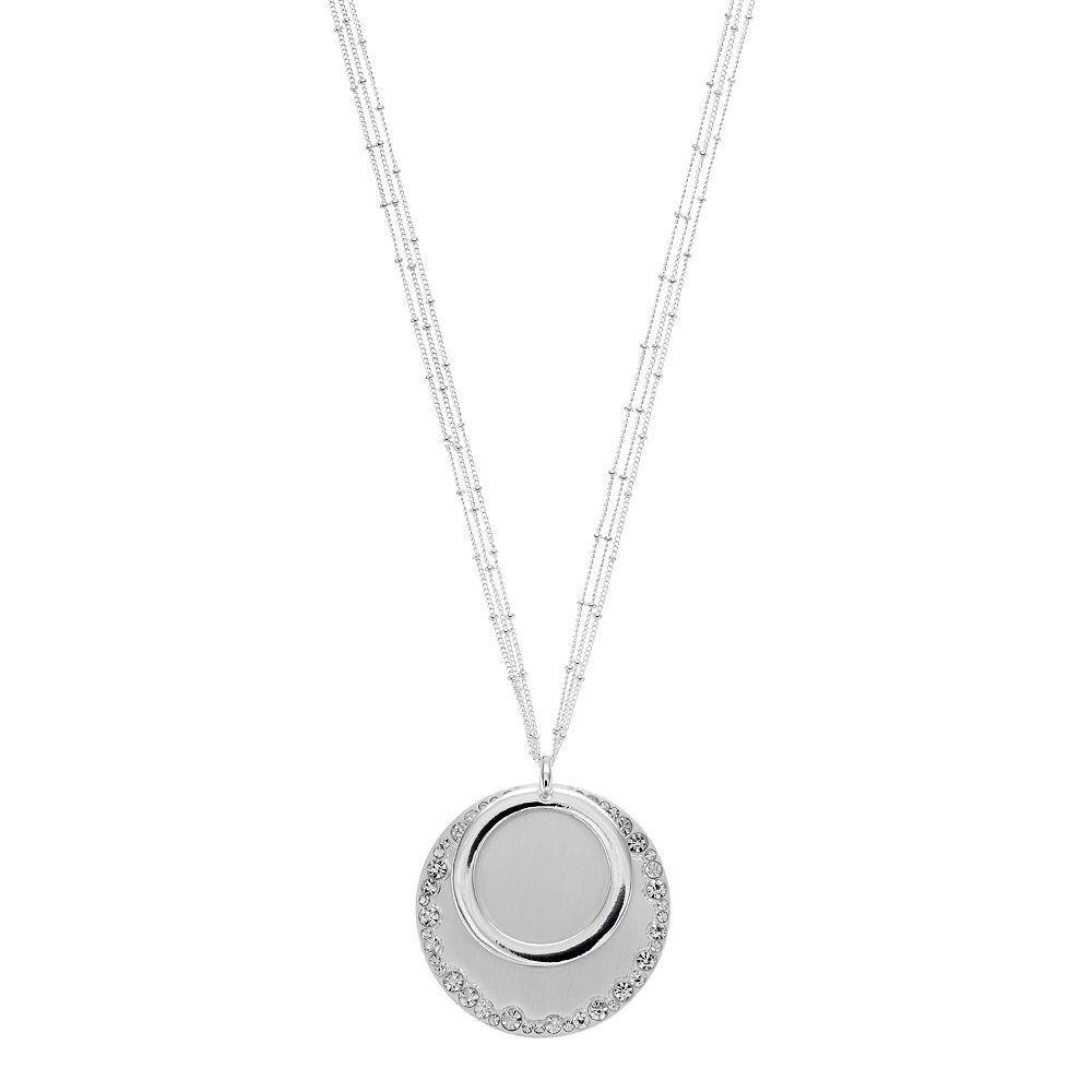 Dana Buchman Multi Strand Hoop & Disc Pendant Necklace, Women's, Silver