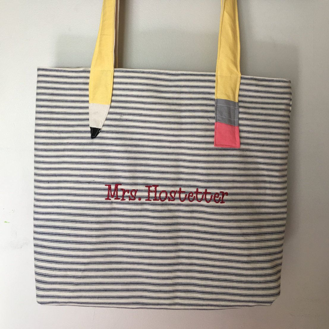 a2af77d570a Teacher Tote Bag Personalized, Teacher Gift, Art Supply Bag, Craft Tote,  Monogrammed Teacher Tote Bag, Unique Teacher Gift Ideas by IVPeasInaPod on  Etsy