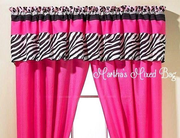 safari jungle girls teen pink black white zebra print window