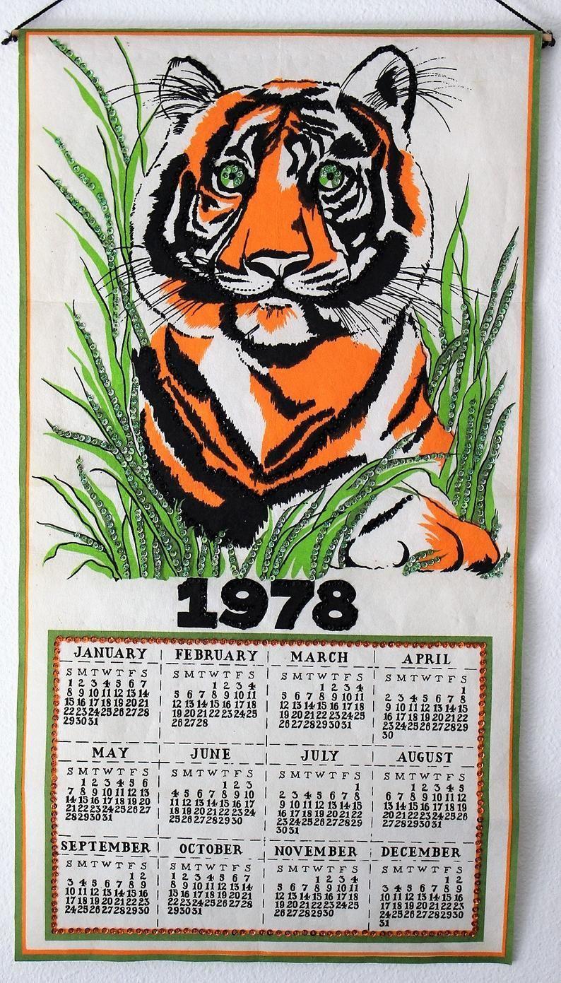 Vintage 1978 Needlecraft Felt Wall Calendar From Kit With Lion