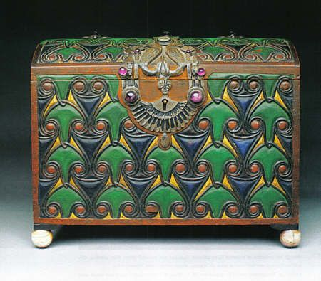 Marie Zimmermann Egyptian Chest, ca 1935  carved and polychromed wood, ivory, cast and patinated sterling silver, amethyst  10 1/4 x 81/4 x 121/4""