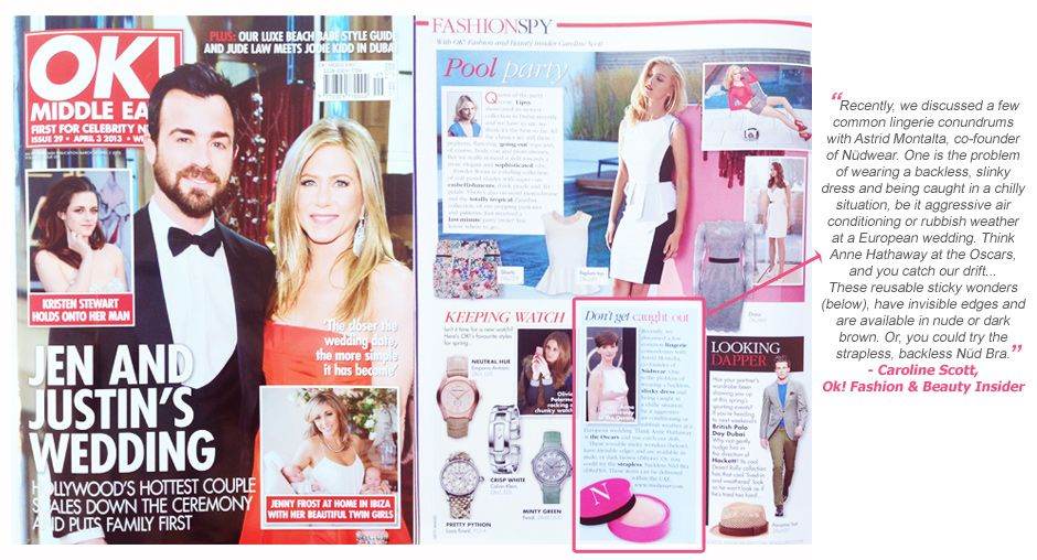 Nüdwear Co-Founder Astrid Montalta and Nüdwear Nippies and Nüd Bra featured  in OK! magazine this week by fashion   beauty editor Caroline Scott! bb0a207c5