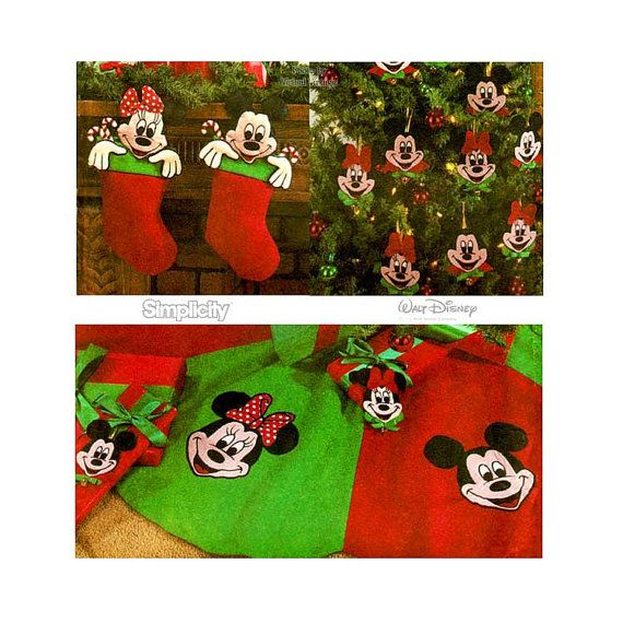 Minnie U0026 Mickey Mouse Christmas Crafts Sewing Pattern Simplicity 8292,  Ornaments, Stockings And Tree Skirt Transfer Included Uncut FF