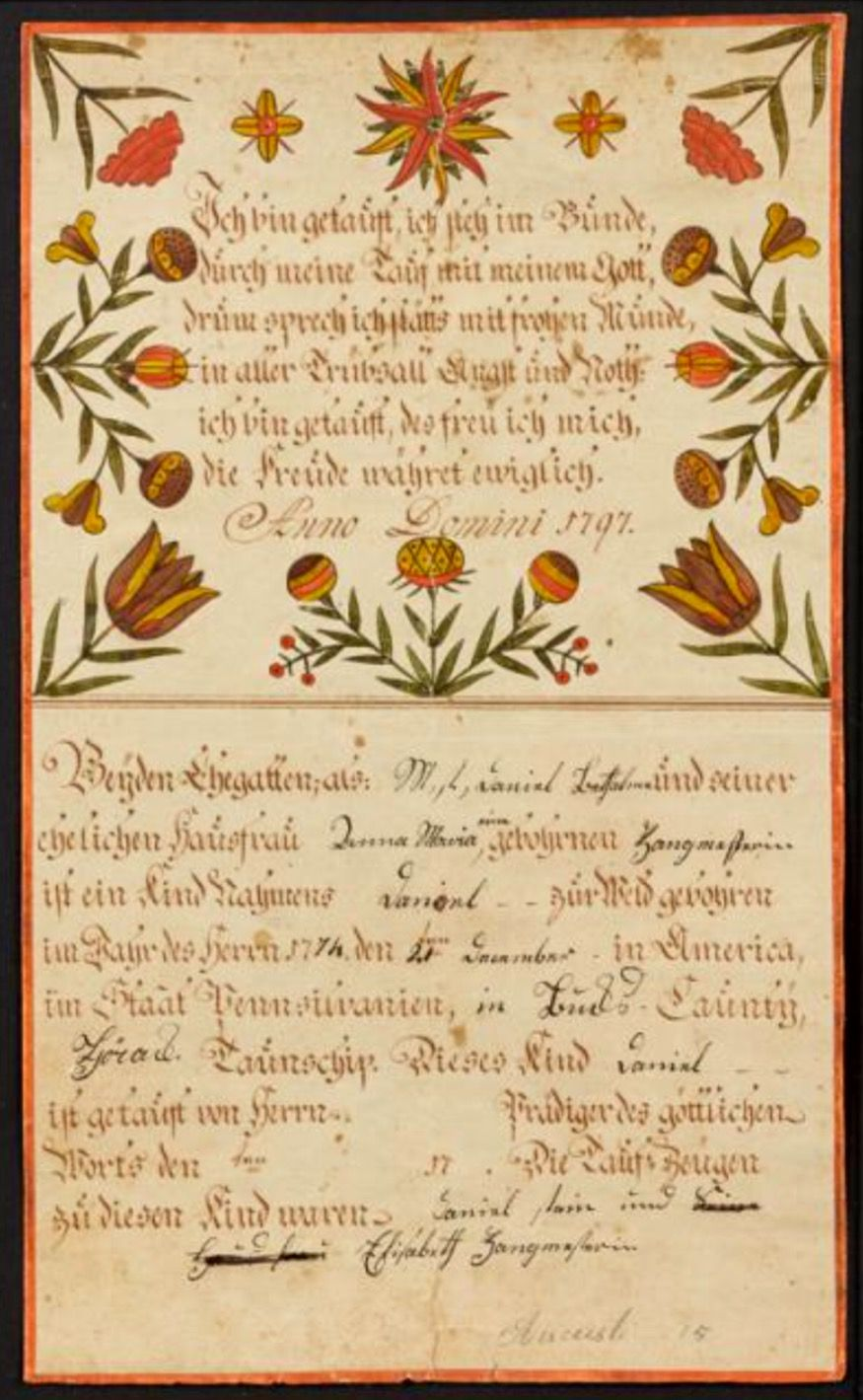 Pook pook 42917 lot 203 estimated 1000 1500 realized engraver artist southeastern pennsylvania active bucks county ink and watercolor fraktur birth certificate for daniel zangmeister b yadclub Gallery