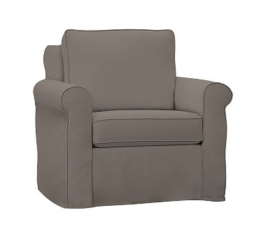 Cameron Roll Slipcovered Swivel Arm Chair Polyester Wrapped