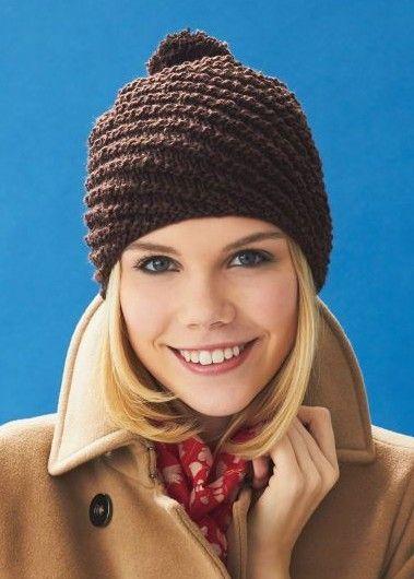 Free Knitting Pattern For Diagonal Rib With Pom Pom Hat Shadle
