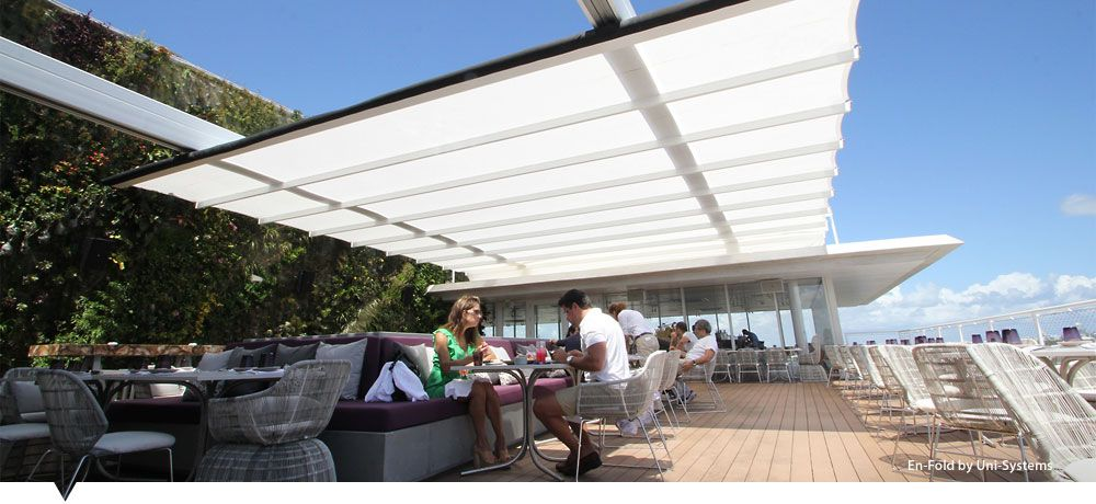 Retractable Awning System   Enfold By Uni Systems   Base Structures · Roof  TerracesBeach ClubFabric ...
