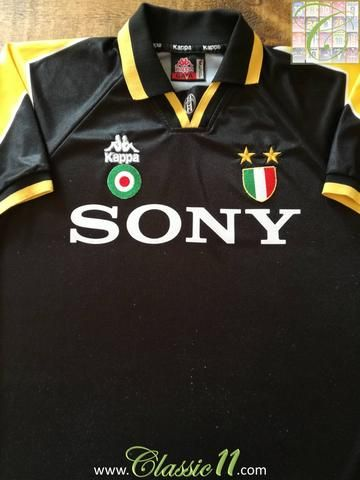 9bbc2898c44 Official Kappa Juventus 3rd football shirt from the 1995 1996 season.  Complete with Serie A Champions shield and Coppa Italia winners patches on  the chest.