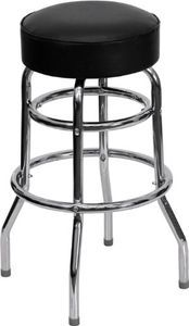 Flash Furniture Fd D 100 Gg Double Ring Chrome Bar Stool With Black Vinyl Swivel Seat Metal Bar Stools Chrome Bar Stools Red Bar Stools