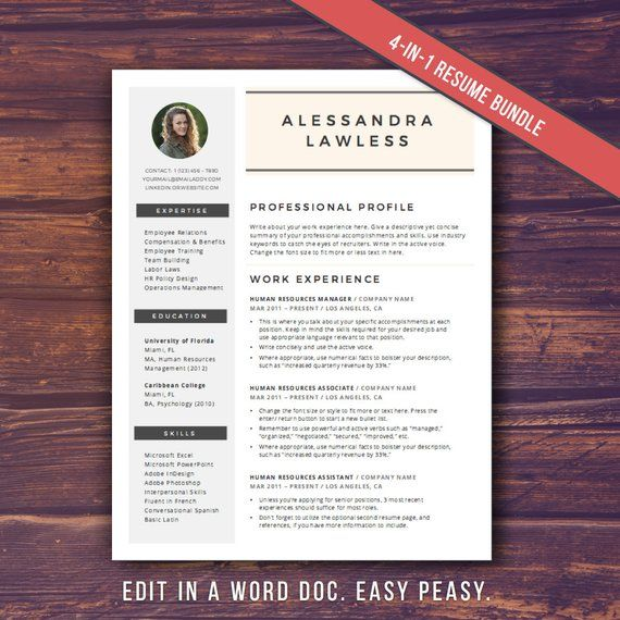SALE! Modern Resume Template with Photo, Word Template, CV Template