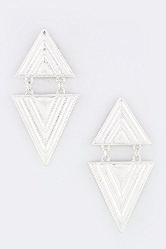 TRENDY FASHION JEWELRY TEXTURED TRIANGLE EARRINGS BY FASHION DESTINATION  Silver >>> Be sure to check out this awesome product. Note:It is Affiliate Link to Amazon.