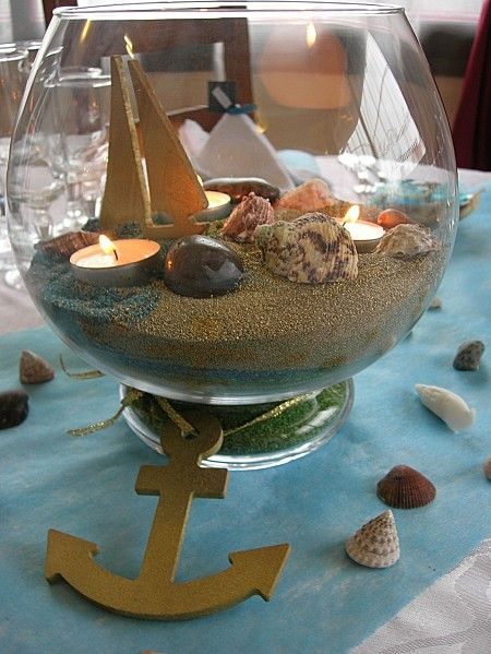 D coration de table th me marin communion bapt me marin pinterest communion mariage and - Decoration bapteme theme pirate ...