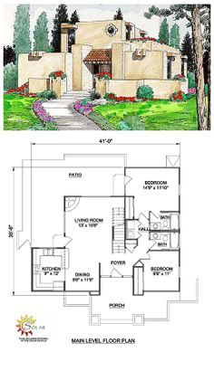 House Plan 94304 | Total living area: 1377 sq ft, 3 bedrooms & 2 bathrooms. A roof garden is the highlight of this Southwestern design. The large living room has a corner fireplace and accesses the rear patio, which has a fire pit for barbecues.