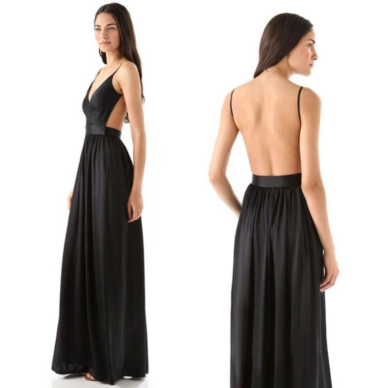 Black Cut Out Low Back Long Dress