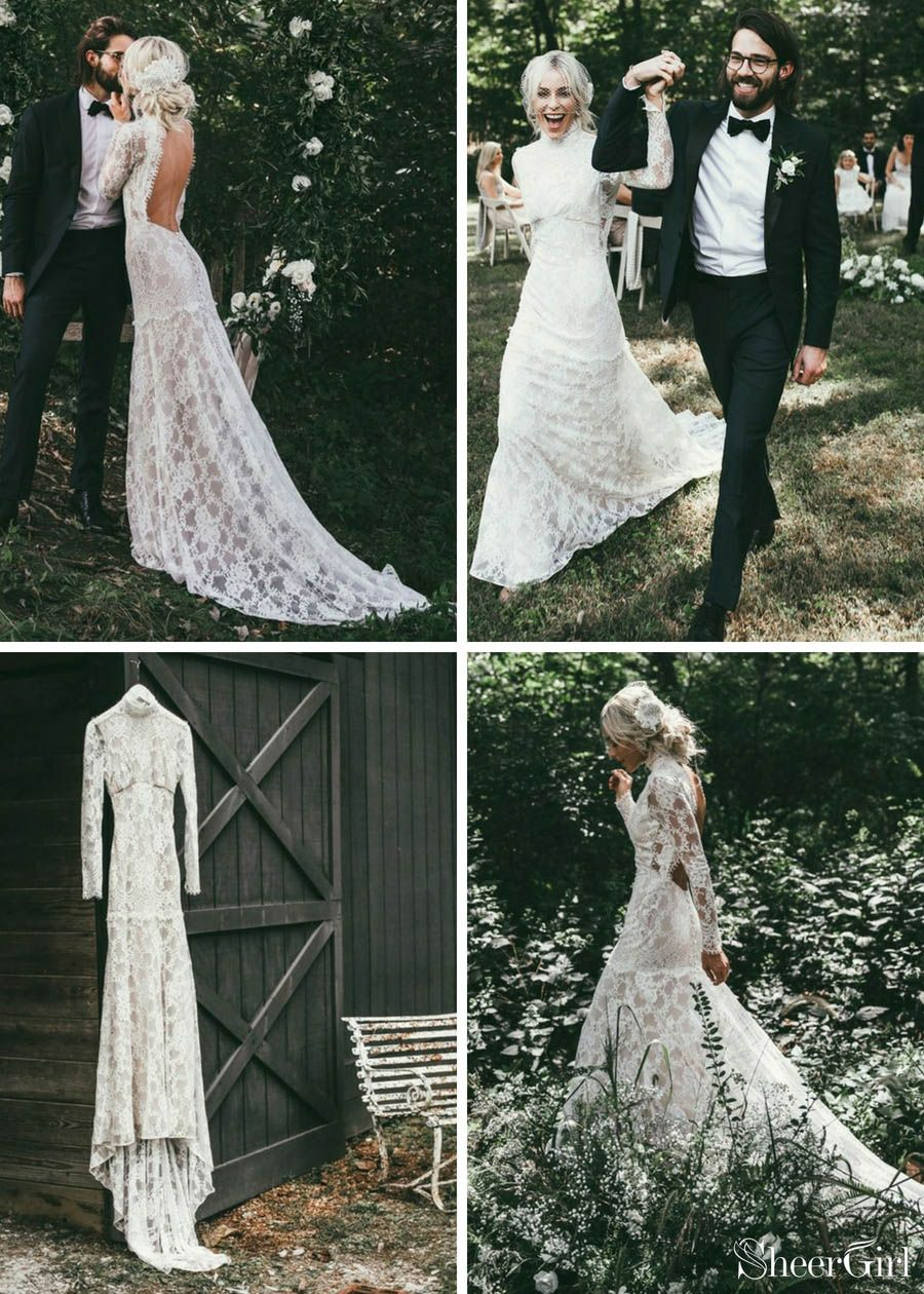 High neck see through rustic lace wedding dresses vintage sheath