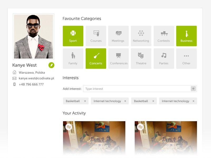 User profile page design
