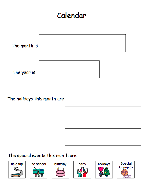 Special Education Adapted Calendar Activities Language Arts For