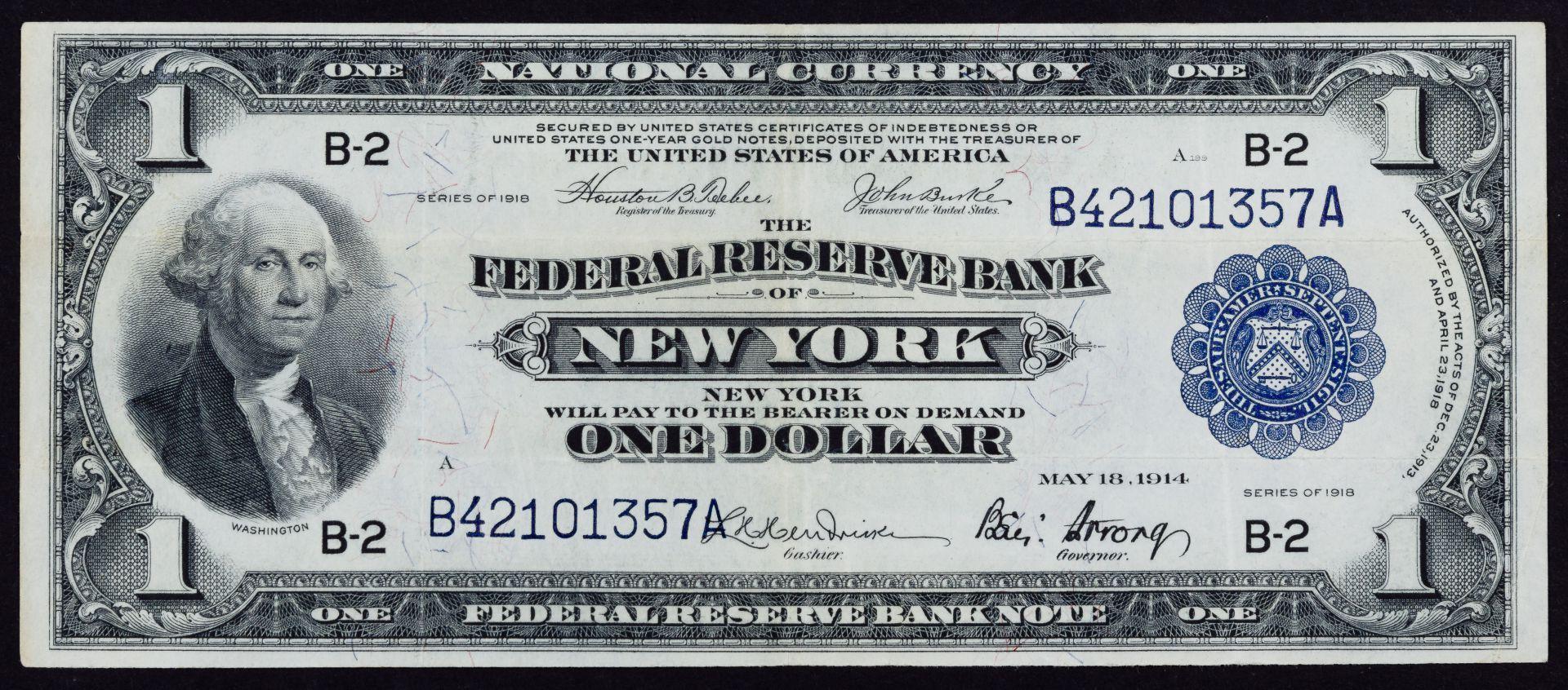 1918 1 Frn New York Vf Bank Notes