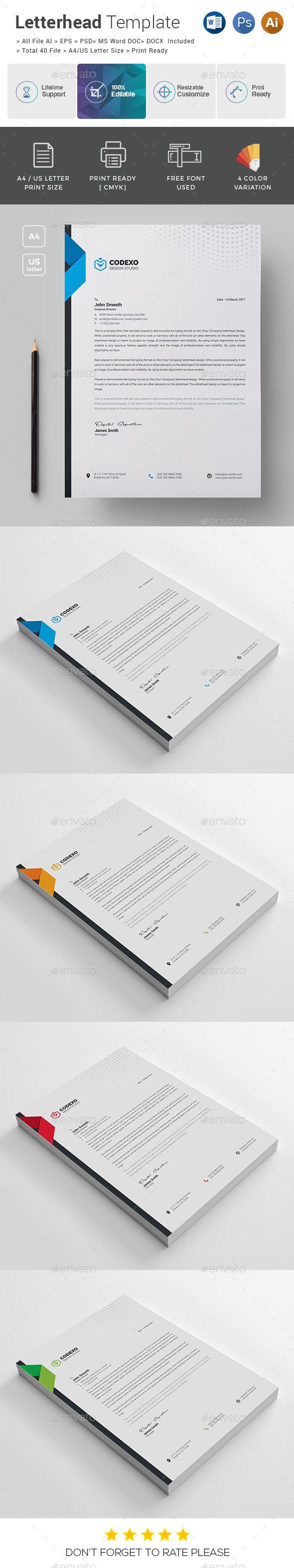 Corporate Letterhead Template PSD, Vector EPS, AI