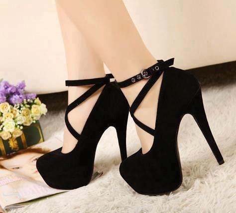 Zapatos de tacón alto de plataforma con tacones altos Criss Cross negros de mujer 1FInclvyX8