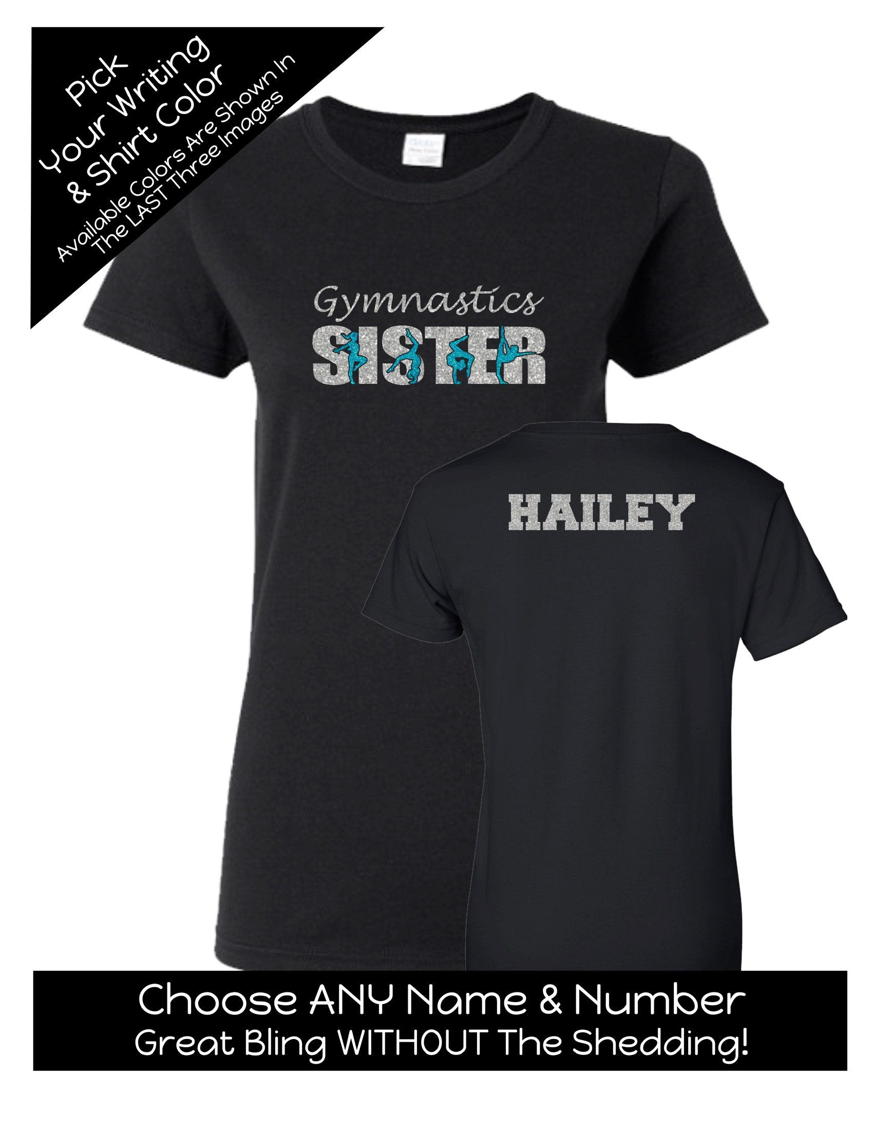 61043abe2 Gymnastics Sister Shirt with a NAME on the BACK - Personalize the Colors - Beautiful  Glitter - Gifts for Mom - Gifts for a Gymnastics mom by ...