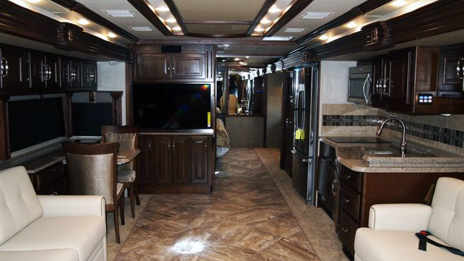 kitchen going the back end of the motor home