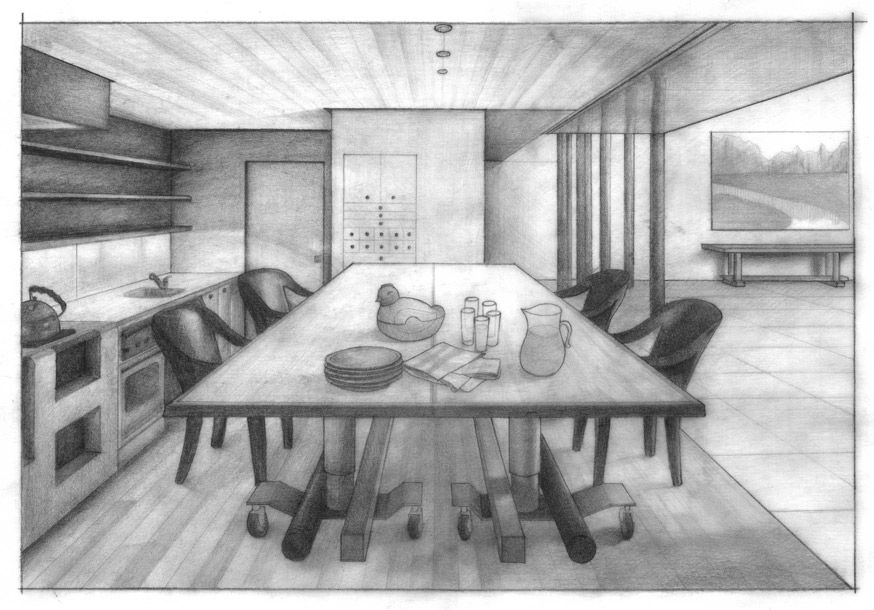 Kitchen Perspective By Aneesah On Deviantart Point Perspective