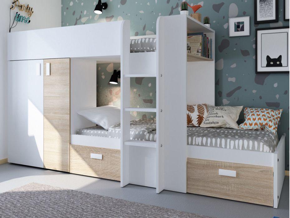 Set Etagenbett Julien : Etagenbett julien lattenrost 2x90x190cm weiß eichenholzfarben
