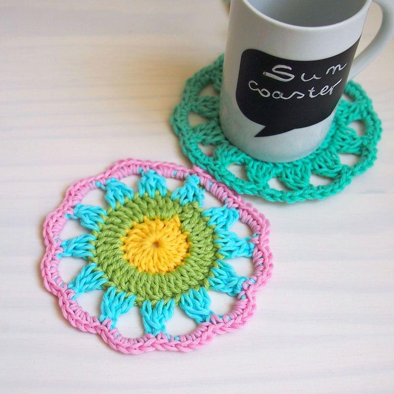 Sun Coaster {Free Crochet Pattern}   Rusas, Ganchillo y Patrones