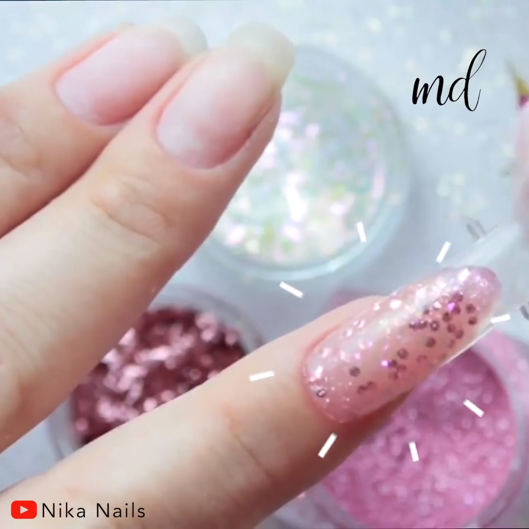 Dazzling & sparkly! These polygel nails are worth a try! Credits: @ Nika Nails
