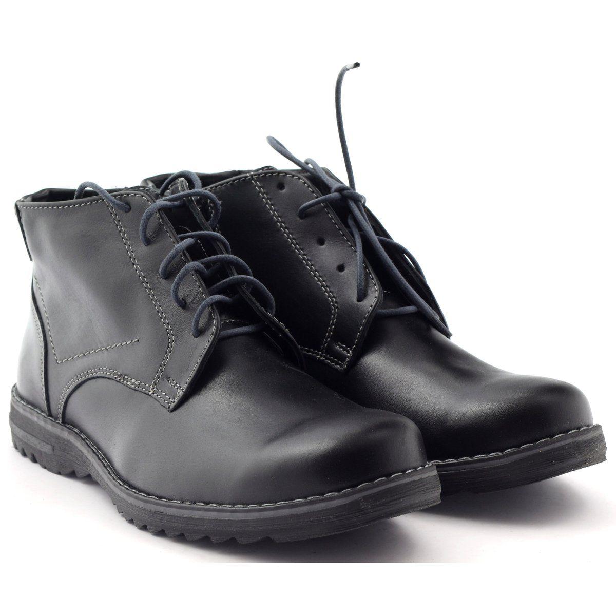 Trzewiki Meskie Skorzane Czarne Naszbut 954 Boots Combat Boots Shoes