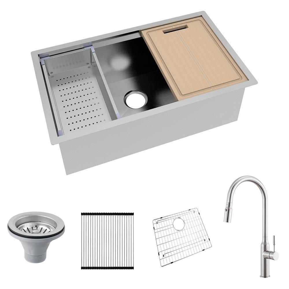 Glacier Bay All In One Undermount Stainless Steel 32 In Single Bowl Kitchen Workstation Sink With Faucet And Accessories Kit 4305f 1 The Home Depot In 2020 Kitchen Work Station Sink Single Bowl Kitchen