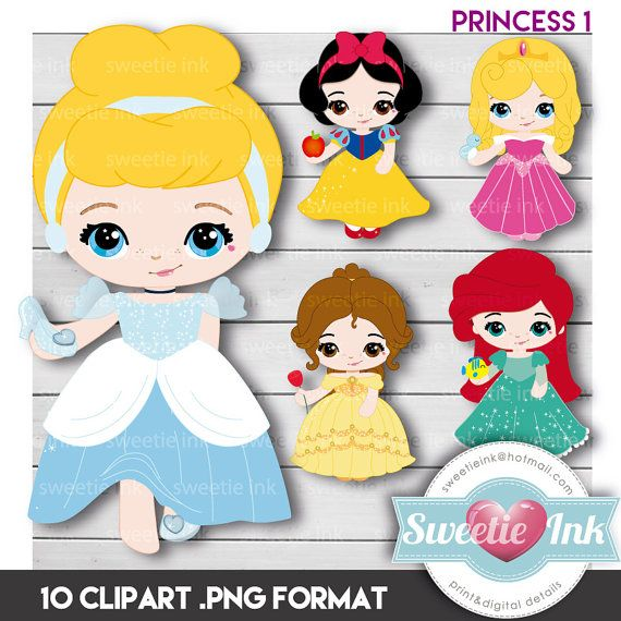 Princess Clipart Digital - beauty - snowwhite - cinderella - little mermaid - beauty sleeppy