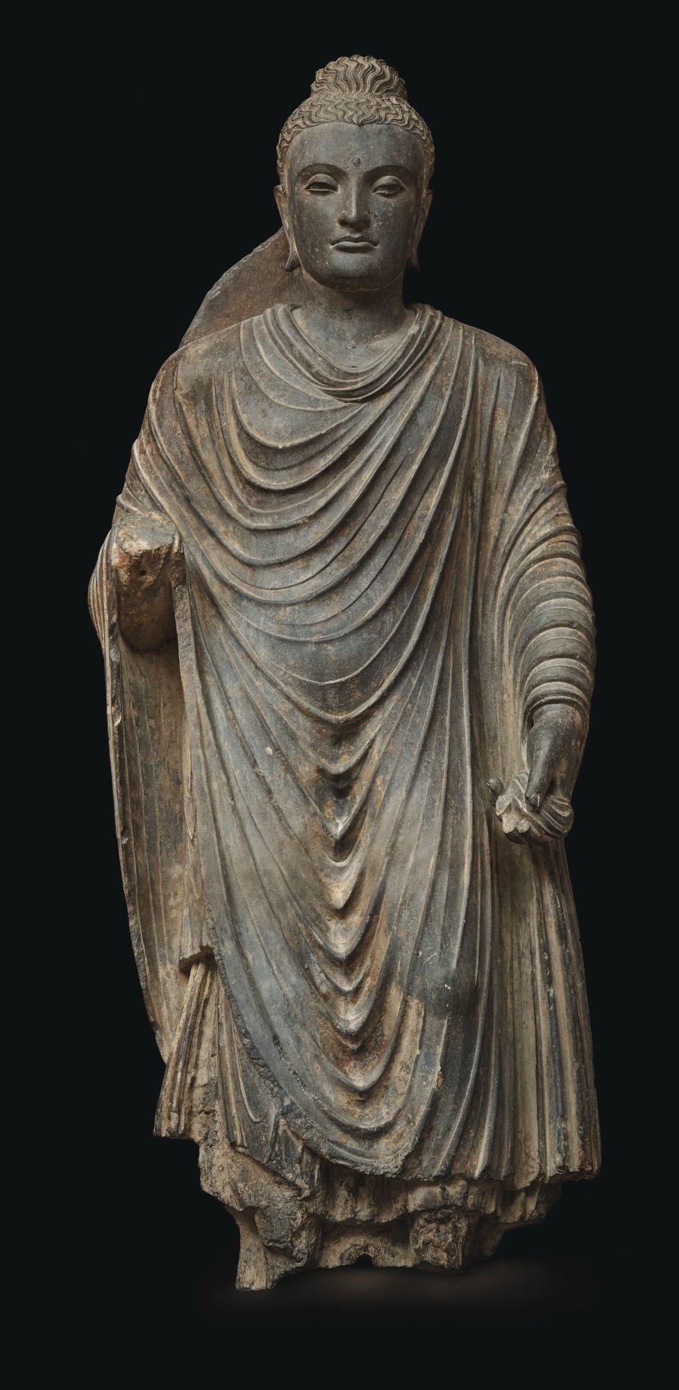 Grey Schist Figure Of Buddha Ancient Region Of Gandhara Kushan Period 2nd 3rd Century Buddhist Art Buddha Statue