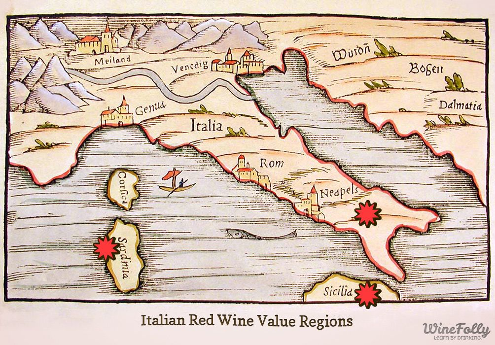 Find great Italian reds under $20 while learning the secrets to Italy's underrated regions.