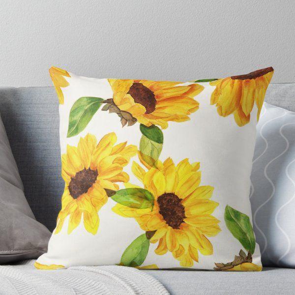 'Sunflowers ' Throw Pillow by SassIt #sunflowerbedroomideas