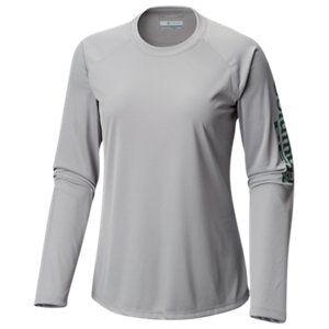 874e562eb85 Columbia PFG Tidal Tee II Long-Sleeve T-Shirt for Ladies - Cool Grey/Thyme  Green Logo - M