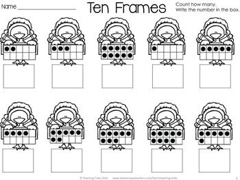 free thanksgiving fun turkey ten frames kindergarten math pinterest ten frames. Black Bedroom Furniture Sets. Home Design Ideas