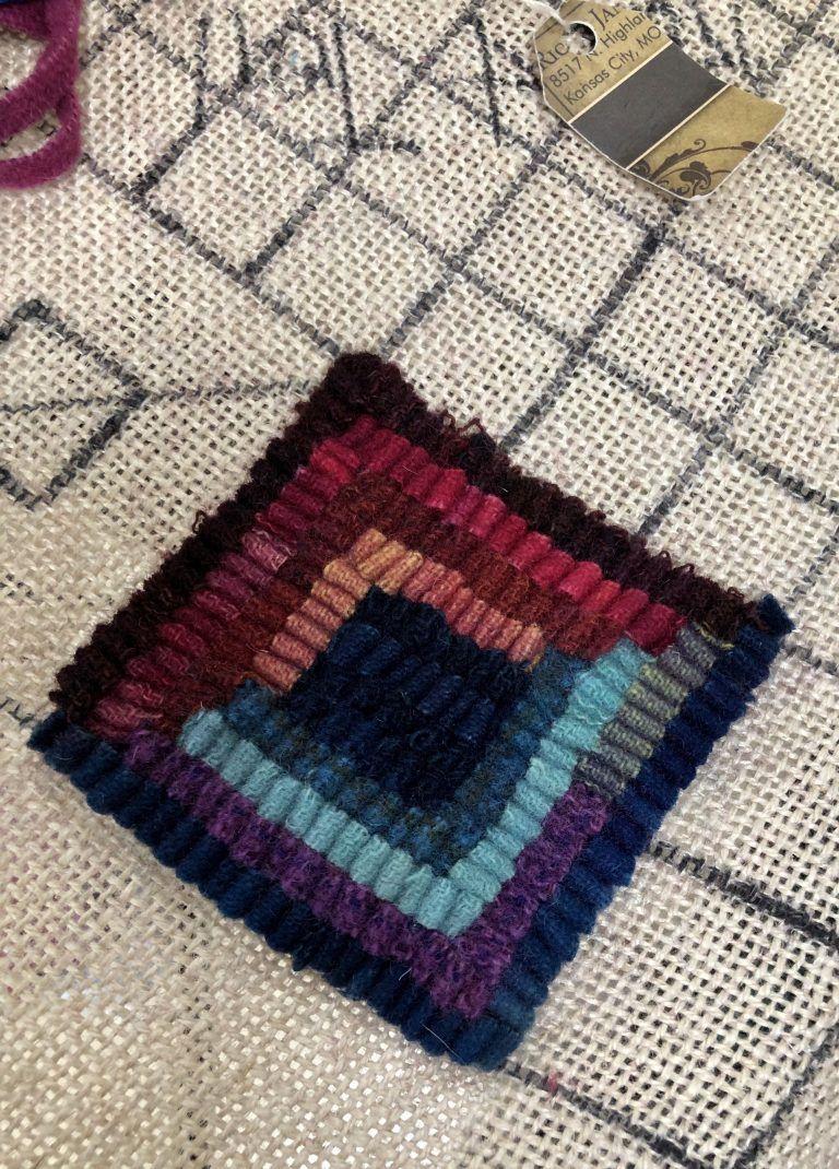 1 Yard Of Rainbow Colors Hooked Rugs Primitive Rugs Rug Hooking