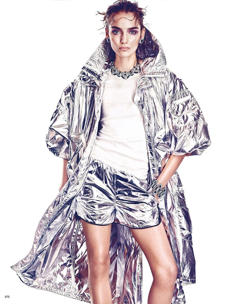 Zuzanna Bijoch photographed by Andreas Sjodin styled by Sabino Pantone for Vogue Japan June 2014, silver metallic space suit
